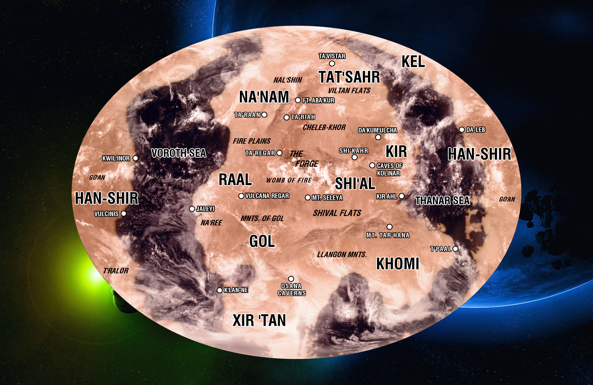 Map of a different Vulcan by the United Federation of Planets (Star Trek).