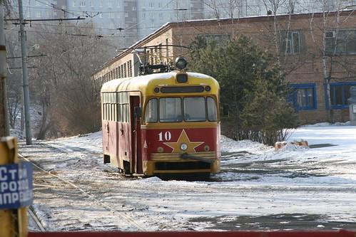 Vladivostok tram (10) between Shkolnaya.Sta and Klubnaya.Sta, Vladivostok, Primorsky Krai, Russia /Jan 3, 2018