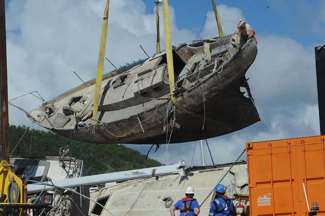 Hurricane Maria response crews in Puerto Rico move wrecked vessel off crane barge