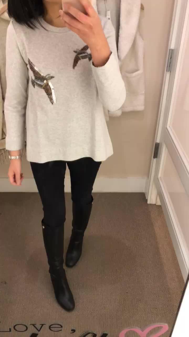LOFT Beaded Bird Sweatshirt, size XS regular