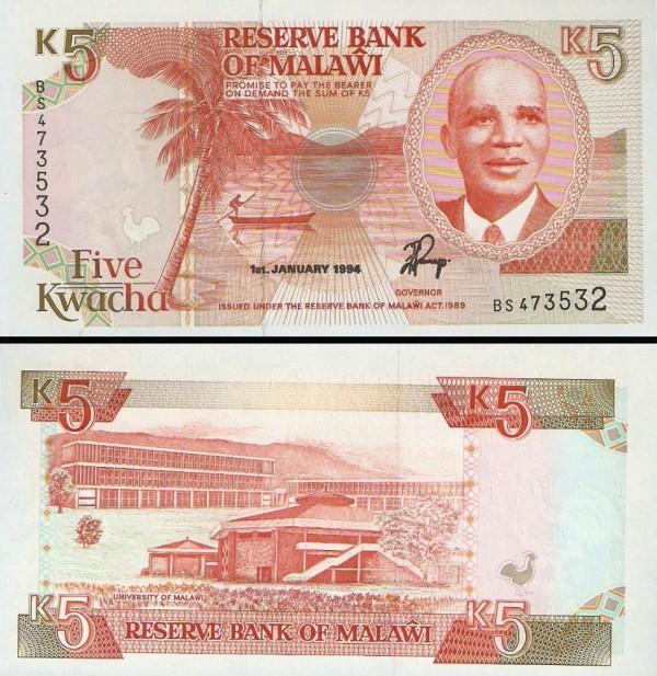 5 Kwacha Malawi 1994, P24b