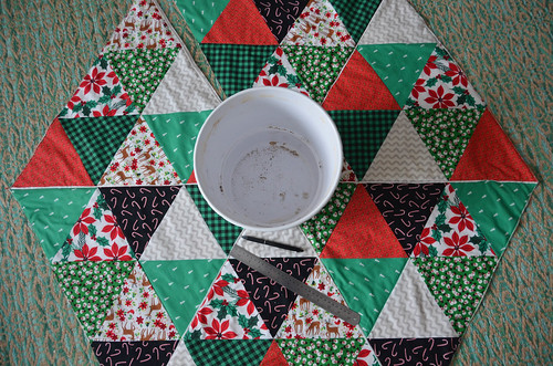 "If you're making a Christmas Tree Skirt Quilt, cut a circle in the middle about 8"" in diameter."