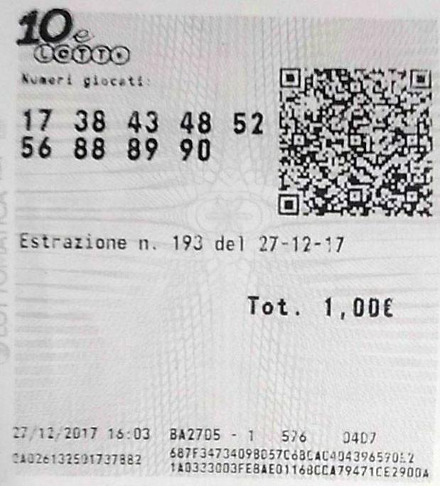 biglietto vincente 10elotto
