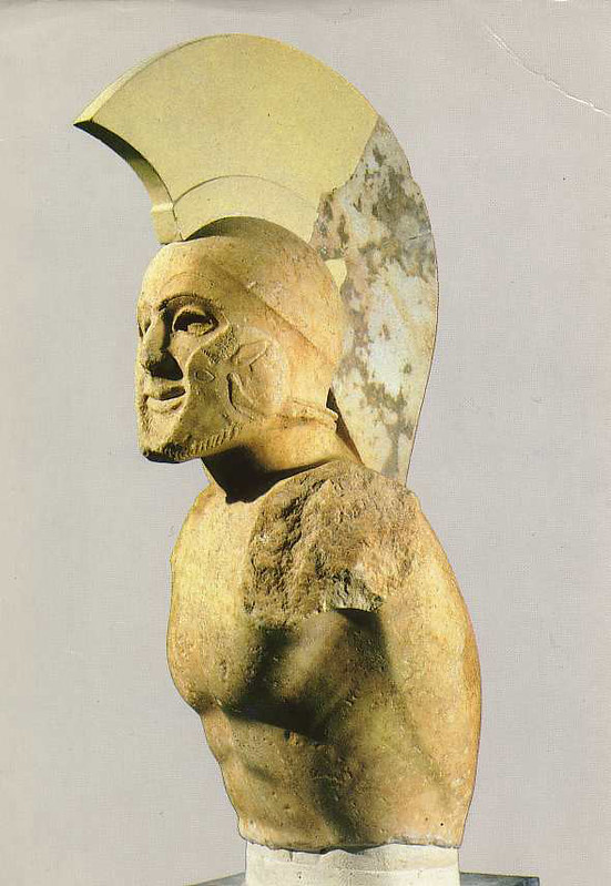 Marble statue of a helmed hoplite