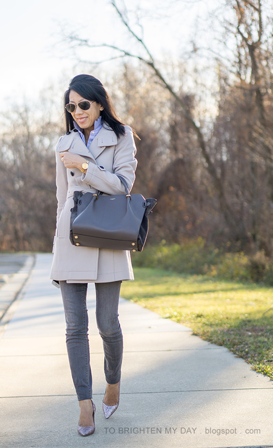 gray wool trench coat, blue striped shirt with scallop collar, gold watch, gray skinny jeans, gray tote, pink glitter pumps