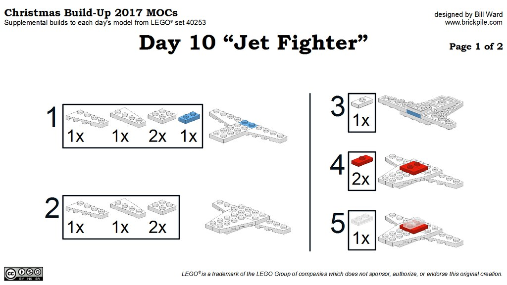 "Christmas Build-Up 2017 Day 10 ""Jet Fighter"" MOC Instructions p1"
