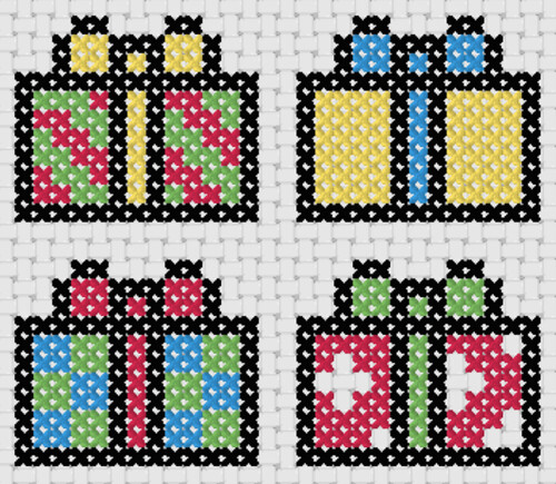 Preview of Free cross stitch patterns for beginners: Presents