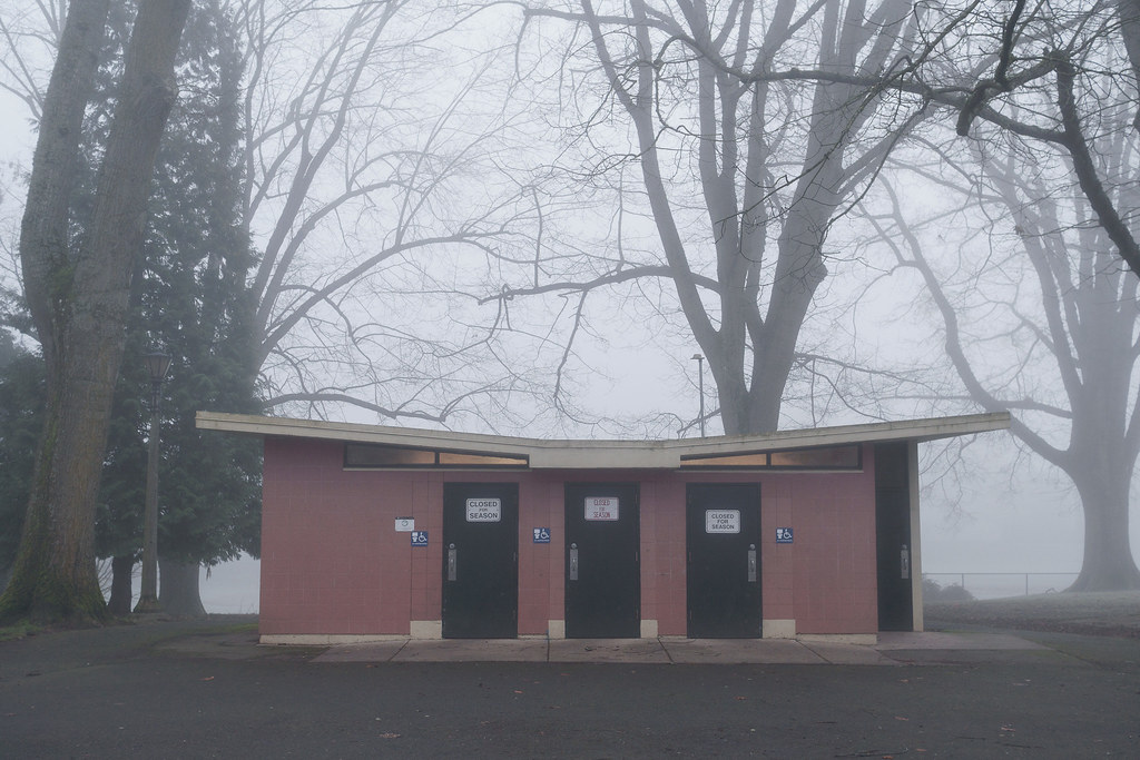 The bathrooms at Irving Park are closed for the winter in Portland, Oregon