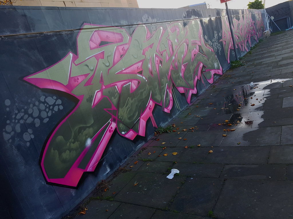 Street art cardiff,millennium walkway