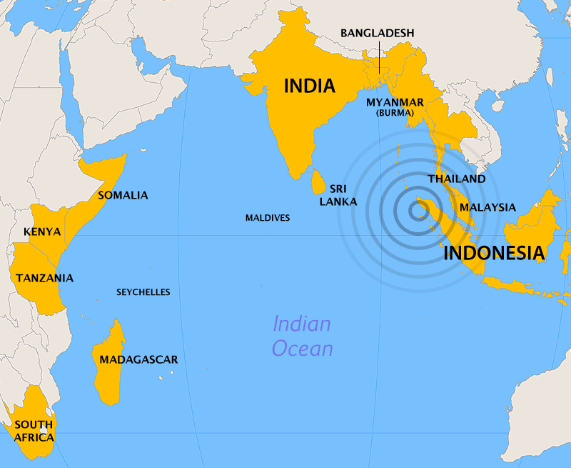 Map showing the epicenter of the 2004 Boxing Day earthquake and countries affected by the resulting tsunami.