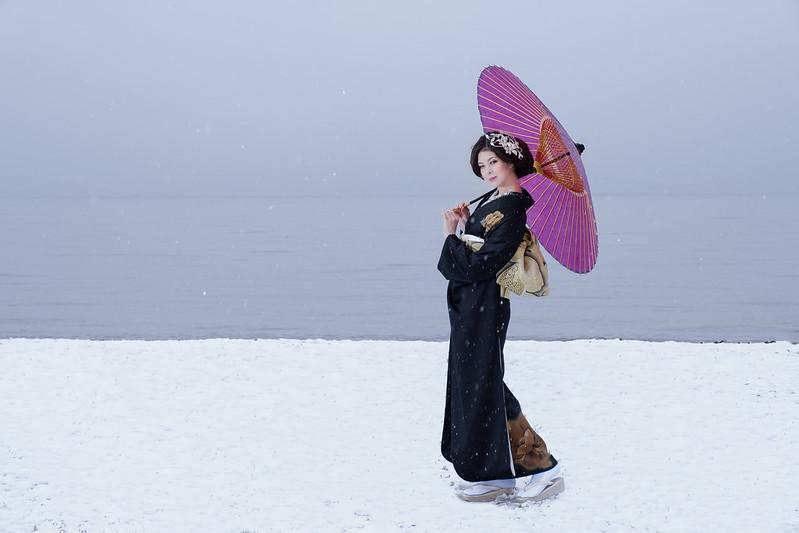 Snow scene portrait