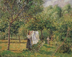 Femme étendant du linge, Eragny (C Pissarro - PDRS 1501)