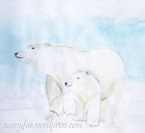 polar bear and baby watercolur sketch