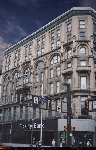 lackawannacounty landmark nrhp downtown jermyn hotel jermynapartments readaptive use onasill historic building scranton pa pennsylvania coal trains depot 1894 architecture john duckworth stone steel old vintage photo restaurant nightclub omar room manhattan bar motor inn sky clouds
