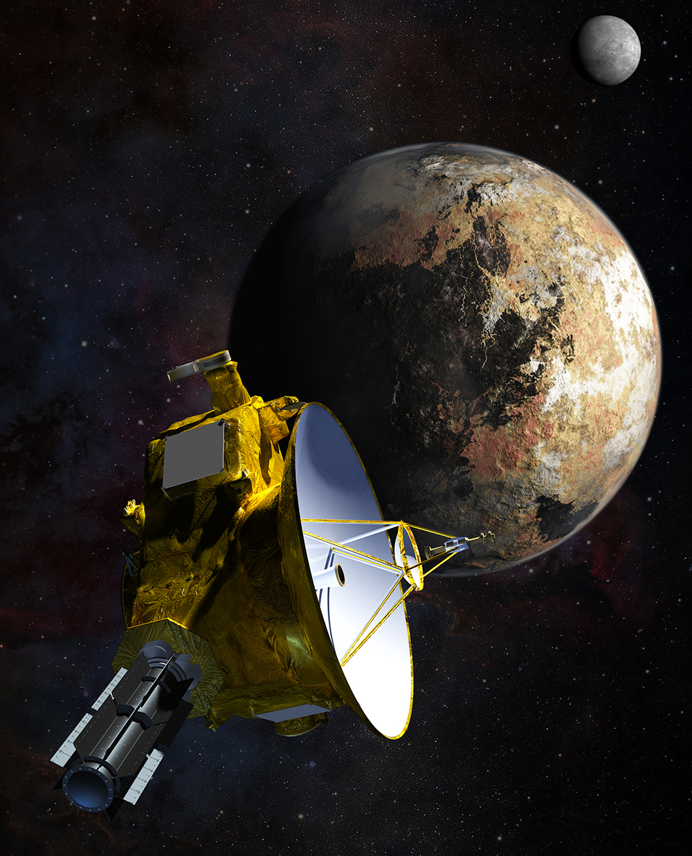 Artist's concept of New Horizon's fly-by of Pluto and Charon on July 14, 2015.