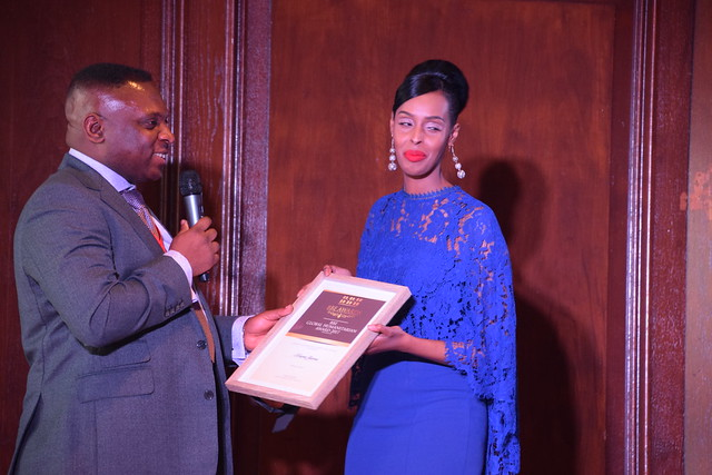 DSC_6807 Black British Entertainment Awards BBE Dec 2017 at Porchester Hall London with Jean Gasho Co Founder of BBE  with Muna Jama Miss Universe UK BBE Global Humanitarian Award Presented by Councillor David Agbley Luton Deputy Mayor