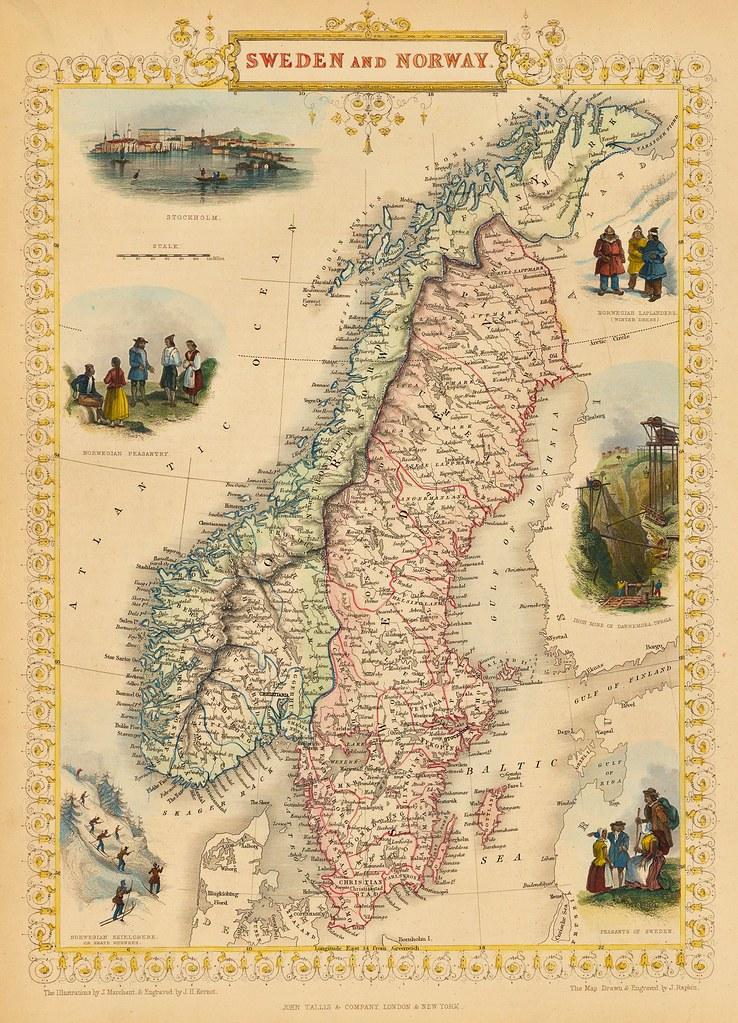 John Tallis - Sweden and Norway (1851)