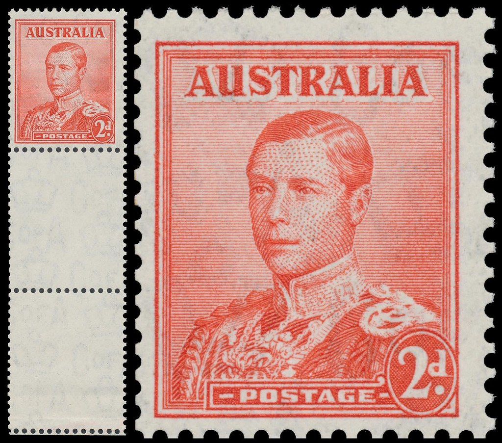 Lot #224 in a June 26, 2017, auction by Mossgreen of Melbourne was this copy of the unissued Australian 2-pence red Edward VIII stamp with margin selvage.