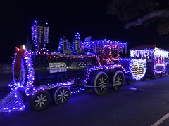 "Hawaii Electric Light at the Kailua-Kona Community Christmas Parade - December 9, 2017: ""Big Ben"" The Toys for Tots float at night"