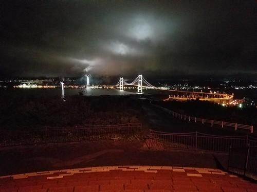 白鳥大橋と工場夜景 キレイ