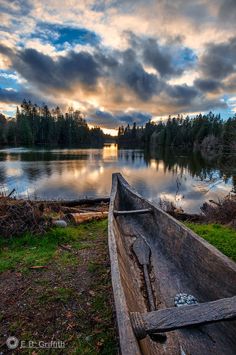 scenic woodard bay olympia washington puget sound sunset evening canoe dugout