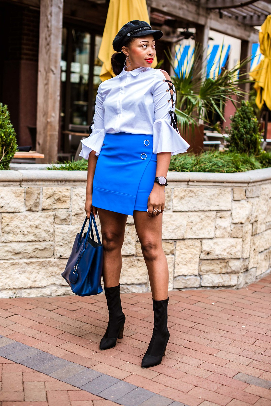 how to style a mini skirt with sock boots