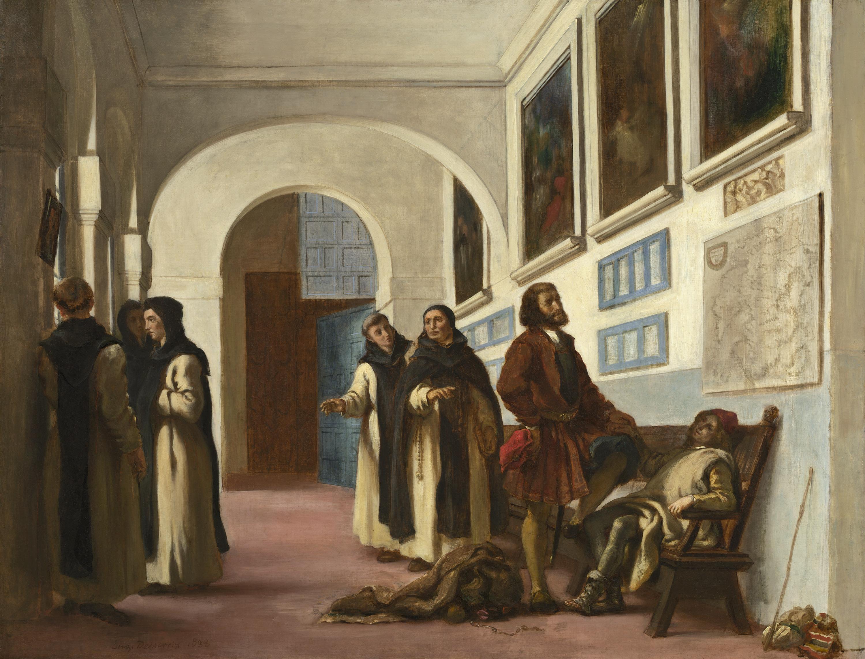 Christopher Columbus and His Son at La Rábida, 1838, oil on canvas, Eugène Delacroix, Chester Dale Collection