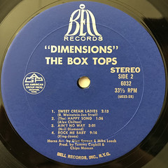 THE BOX TOPS:DIMENSIONS(LABEL SIDE-B)