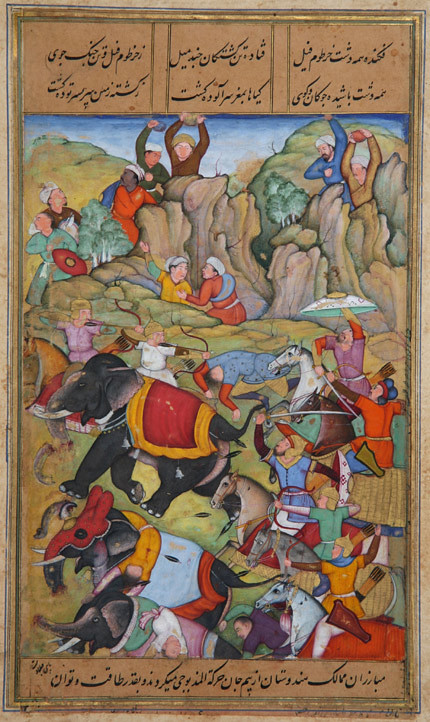 The Defeat by Timur of the Sultan of Delhi, Nasir Al-Din Mahmum Tughluq