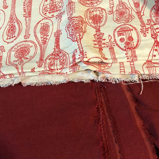 Part of Sewing Sunday's-started burgundy underdress for new Viking garb