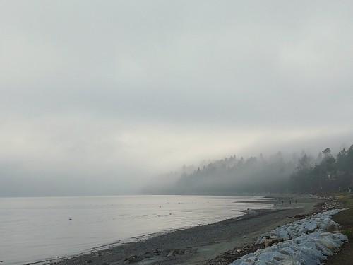 landscape ocean beach fog bc bccanada whiterock minimalist monochrome