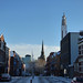 Snow in the Jewellery Quarter - Caroline Street - spire of St Paul's Church and the BT Tower