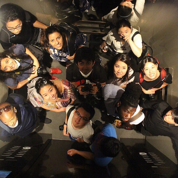 Students pose in an elevator during a tour of one of Beijing's high-rise office buildings. photo / Vaharan Elavia (M.Arch.II '18)