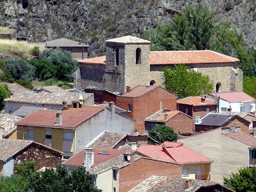 TORTUERO (Guadalajara). Spain. 2014. Sierra Norte. Vista del pueblo desde la carretera GU-1065.