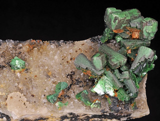 torbernite, quartz var. smoky quartz