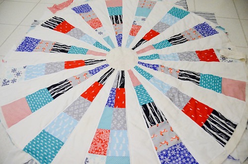 Quilting with two seams on inside of white wedges.