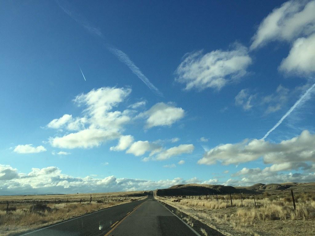 Road in Carrizo Plain approaching Soda Lake south bed