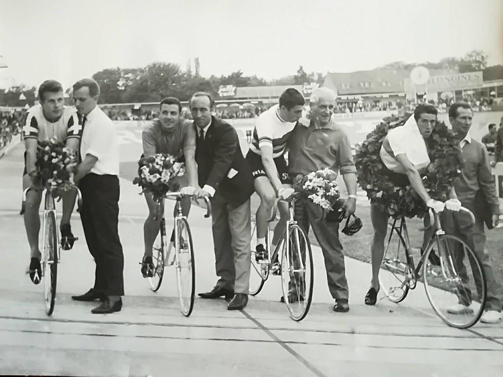 GP di Copenaghen 1964 - da sin Daniel Morelon-Patrick Sercù-Angelo Damiano e il danese Fred Eugen