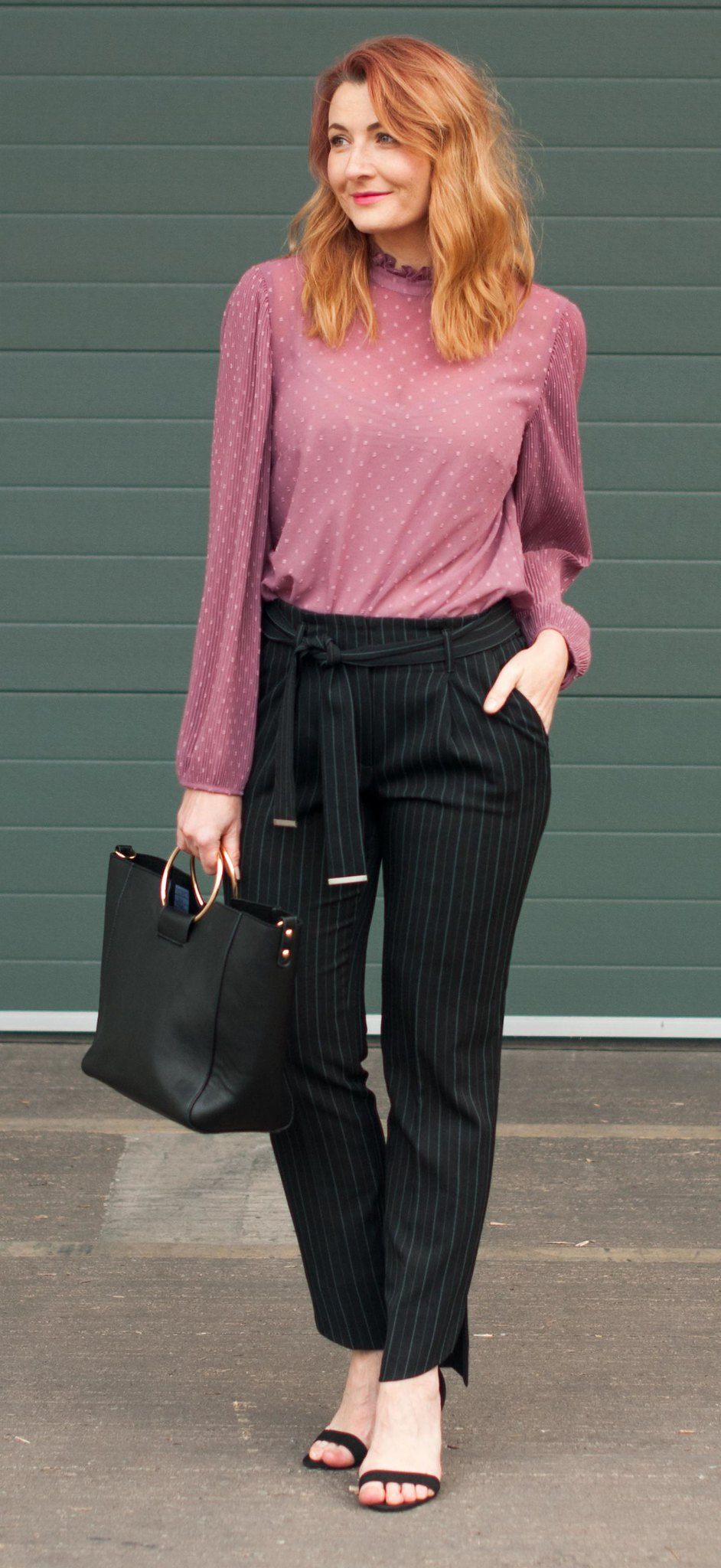 Desk to dinner outfit - Pink ballon sleeve blouse, pinstripe trousers with asymmetric hem, strappy heels | Not Dressed As Lamb, over 40 style