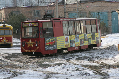 Vladivostok tram ЛМ-93 series between Shkolnaya.Sta and Klubnaya.Sta, Vladivostok, Primorsky Krai, Russia /Jan 3, 2018