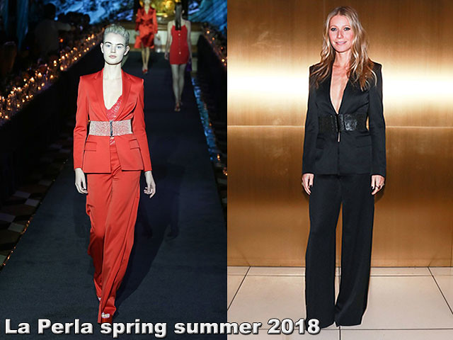 spring summer 2018 ready to wear suit, Gwyneth Paltrow, plunging neckline pantsuit, plunging neckline blazer, black  pantsuit, black wide leg pantsuit, black wide belt, plunging blazer, black plunging blazer, La-Perla-spring-summer-2018-