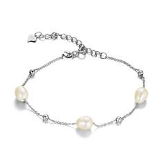 Bransoletka srebrna z perełkami słodkowodnymi