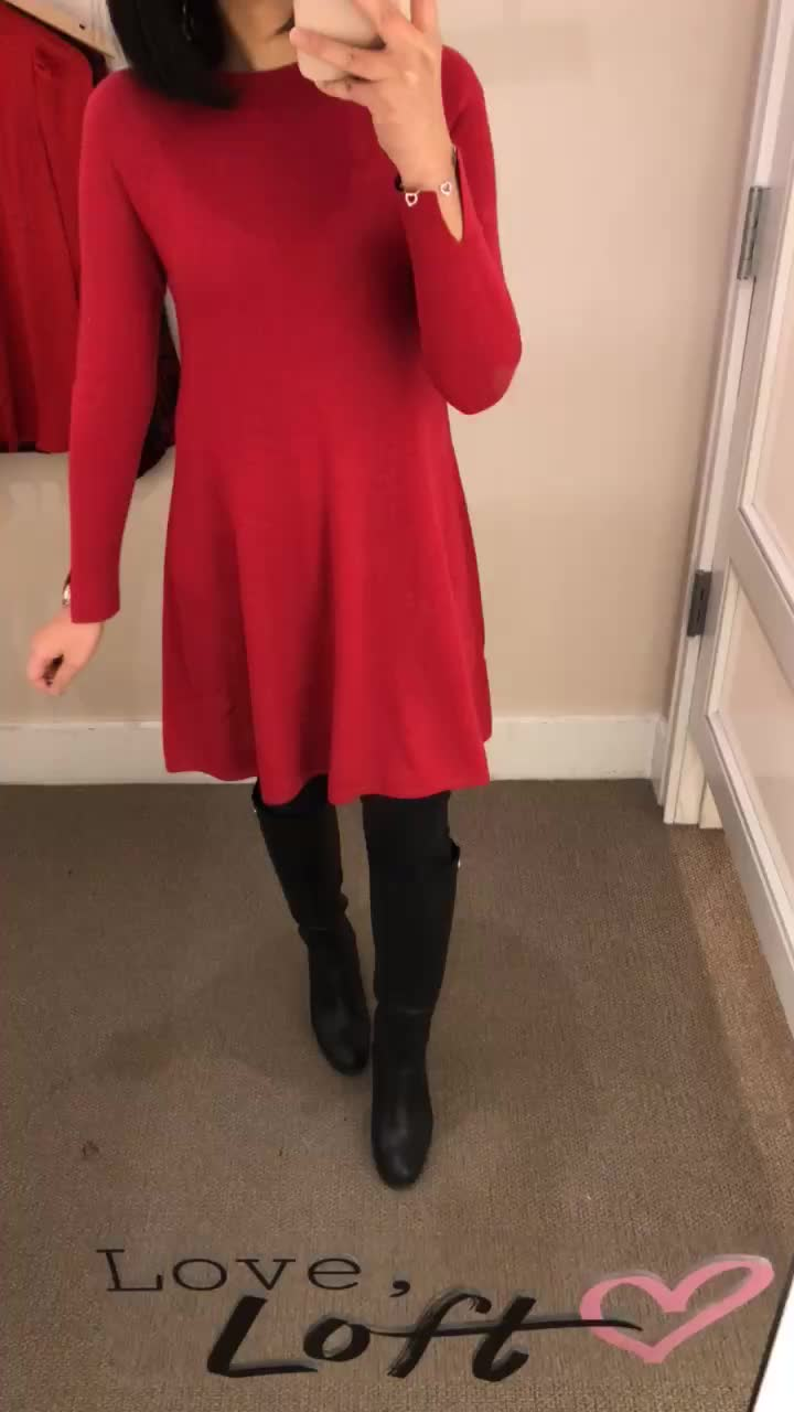 LOFT Mock Neck Swing Sweater Dress, size XXSP