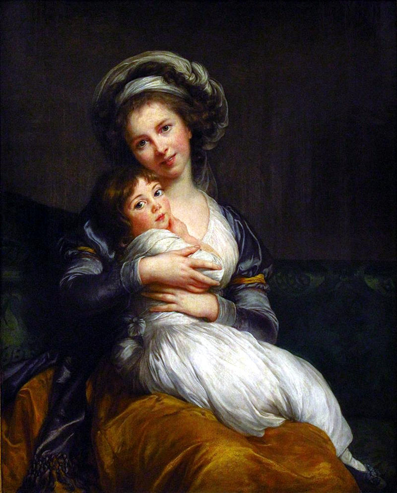 Self-portrait with her daughter Julie, 1786