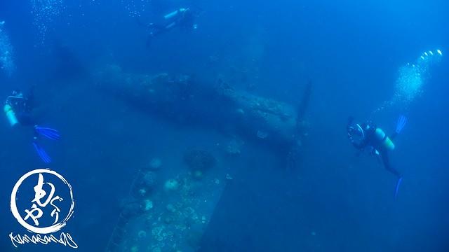 機体の故障でパイロット脱出後に海底に沈んだゼロ戦らしいです。