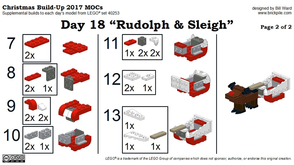 "Christmas Build-Up 2017 Day 18 MOC ""Rudolph & Sleigh"" Instructions p2"