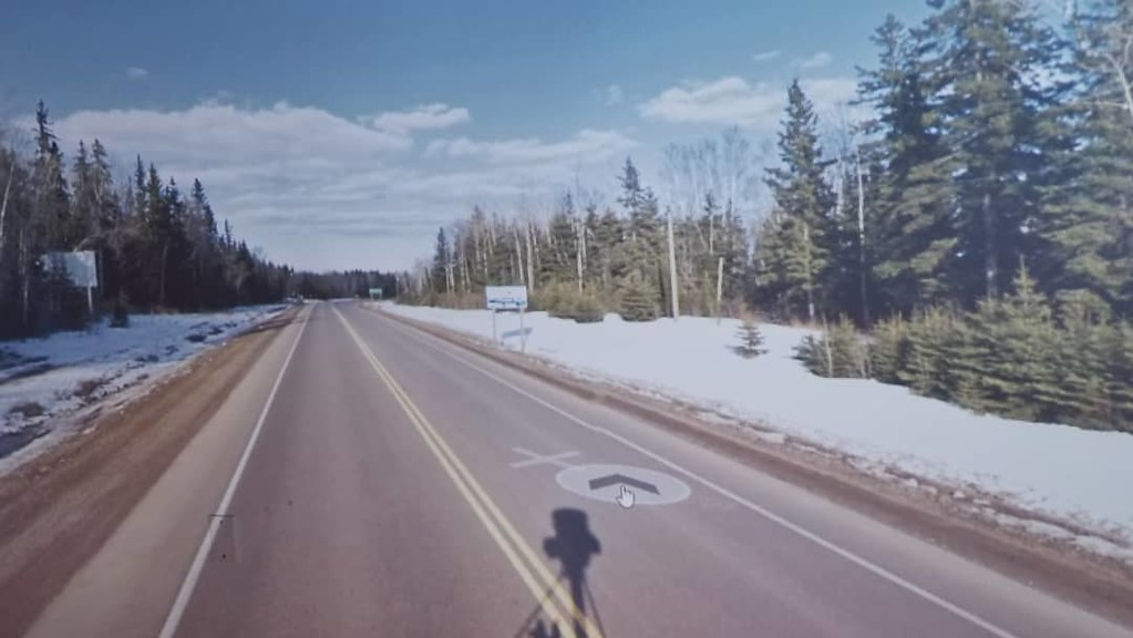 Every once in a while I cycle through snow. #ridingthroughwalls #xcanadabike #googlestreetview #ontario #thunderbay