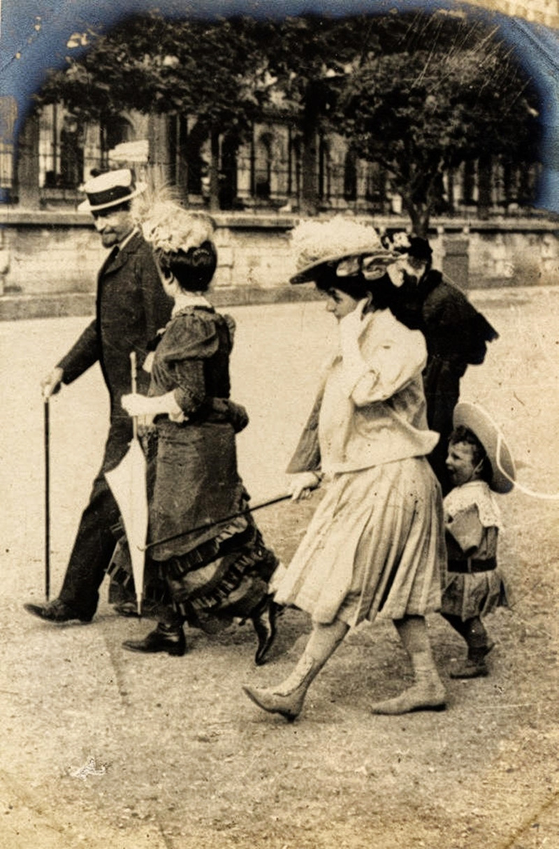 A family walking in the Tuileries Garden, Paris, 1906