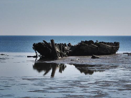 Schiffswrack im Watt auf Sylt