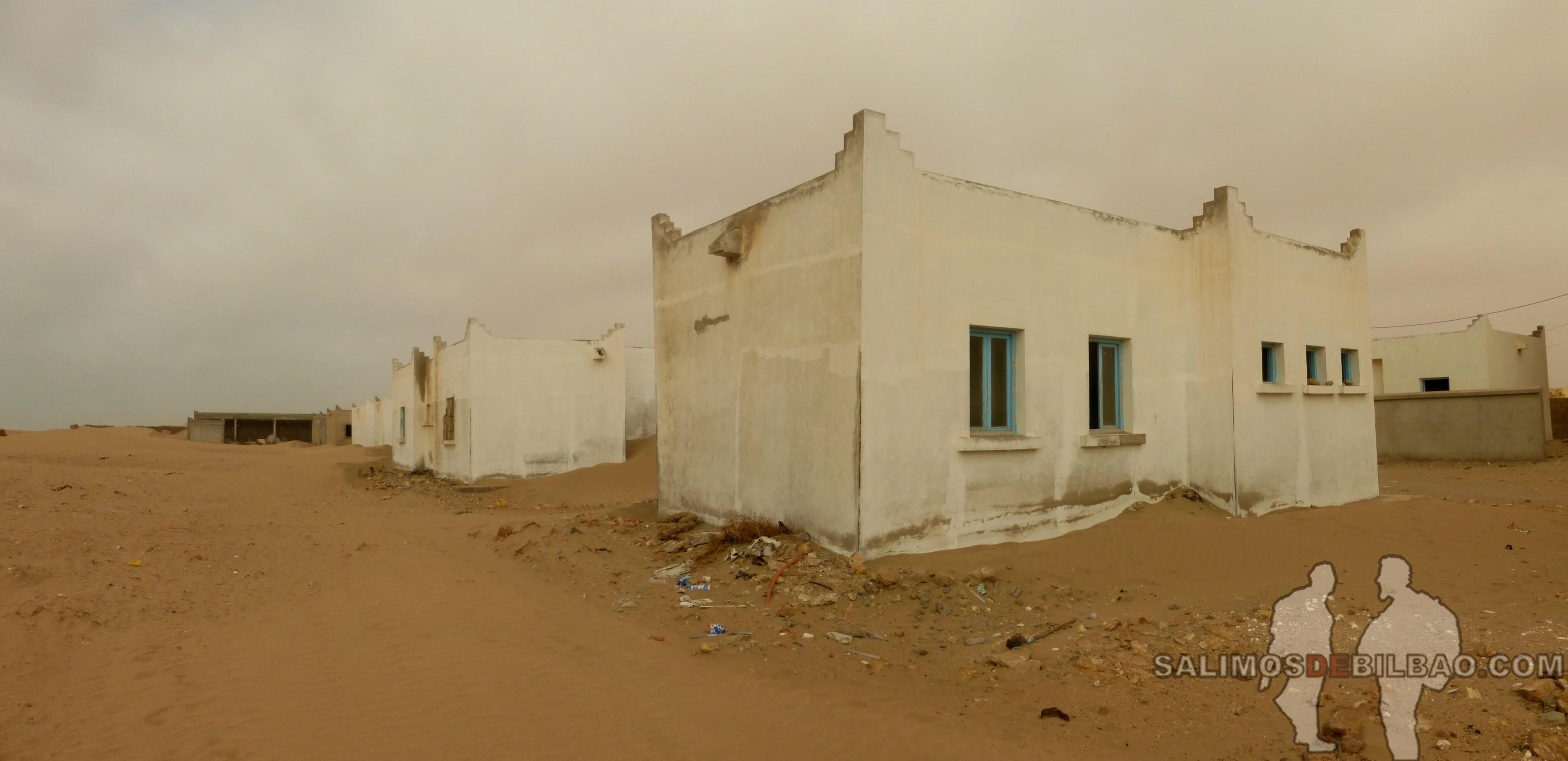 296. Pano, Edificio abandonado junto a la playa, Tarfaya